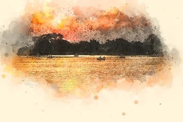Abstract Sunset, Sunlight on watercolor painting background