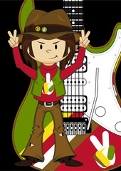 Cartoon Hippie and Electric Guitar