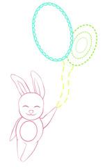 Vector rabbit flying on eggs
