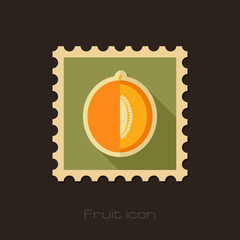 Melon flat stamp. Fruit vector