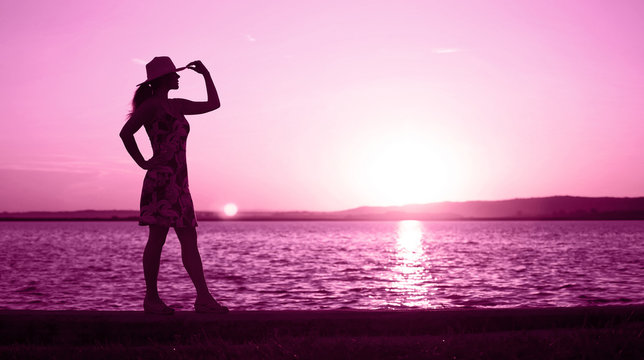 Website banner of a happy woman - life coach and motivation concept in pink