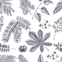 Vector spring background. Seamless pattern with hand drawn blossoming trees sketch. Vintage floral illustration.