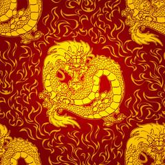 Playfu Gold Asian dragon fire pattern