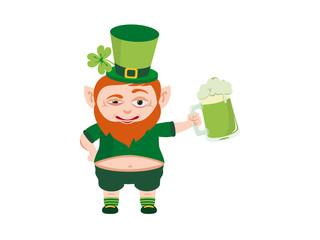 Leprechaun vector. Cartoon character troll. Happy St. Patrick's Day