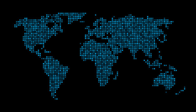 World map square dots cyan