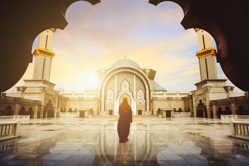 Malaysia Mosque with Muslim pray in Malaysia Wall mural