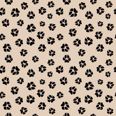 Vector seamless pattern with dirty dog or wolf paw footprints