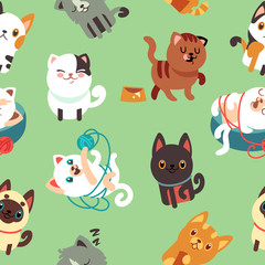 Cartoon cats, kitten vector seamless background