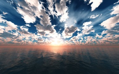 Beautiful sea sunset, clouds and sun above the water, oceanic sunrise, 3d rendering