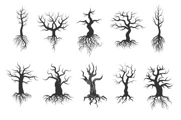 Old tree vector silhouettes with roots vector set