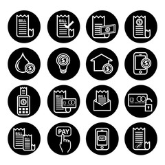 Bill payment icon set