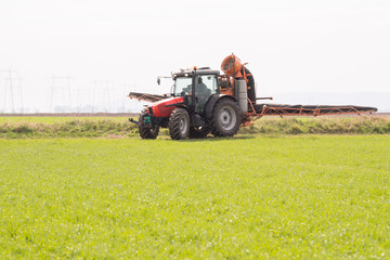 Wall Mural - Tractor spraying pesticide on wheat field with sprayer