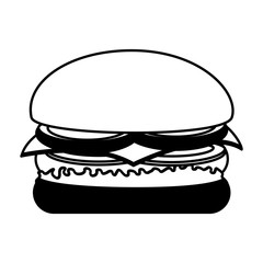delicious burger fast food isolated icon vector illustration design
