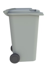 Beside view of grey garbage wheelie bin with a closed lid on a white background, 3D rendering
