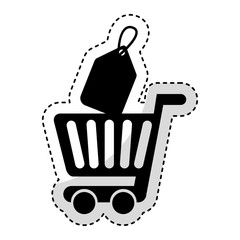 shopping cart with commercial tag vector illustration design