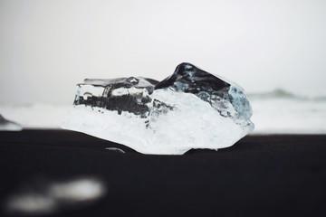 Ice Block on Black Beach