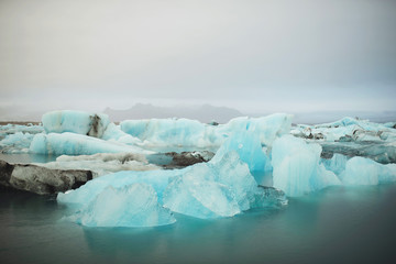 Line of Blue Ice Blocks in Iceland