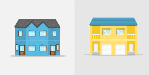 Semi detached houses. Web icon.