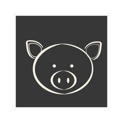 black square picture of pig animal, vector illustration
