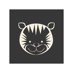 black square picture of tiger animal, vector illustration