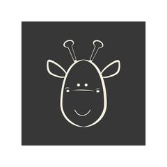 black square picture of giraffe animal, vector illustration