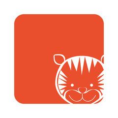 orange square picture of tiger animal, vector illustration