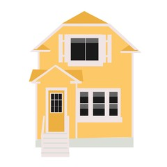 Vector yellow house. Isolated object on a white background.