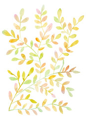 Watercolor leaves background pattern