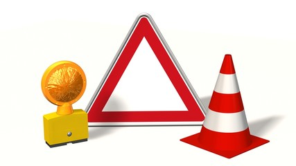 Empty Danger sign, construction site sign with pylons and warning light - isolated on white