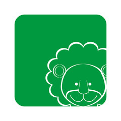 green square picture of lion animal, vector illustration