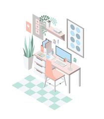 Creative modern workplace with table and designer computer, isometric vector illustration.