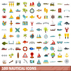 100 nautical icons set, flat style