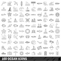 100 ocean icons set, outline style