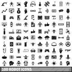 100 robot icons set, simple style