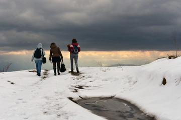 Three women and a Yorkshire Terrier on snowy country road at sunset, dark clouds at sky