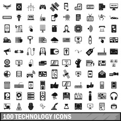 100 technology icons set, simple style