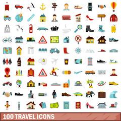 100 travel icons set, flat style