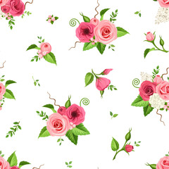 Vector seamless pattern with red, pink and white roses, lisianthuses, lilac and hydrangea flowers.