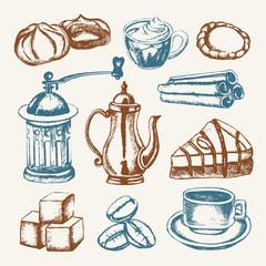 Delicious Coffee - colored hand drawn illustrative composition.
