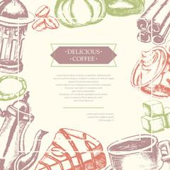 Delicious Coffee - color hand drawn composite flyer.