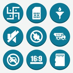 Set of 9 label filled icons