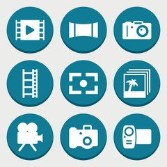 Set of 9 photography filled icons
