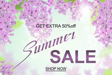 Advertisement about the summer sale on background with beautiful lilac blossom, Lettering, calligraphy. A seasonal discount. Vector illustration