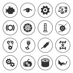 Set of 16 engine filled icons