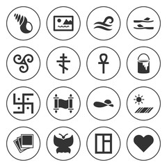 Set of 16 decoration filled icons