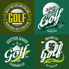 Golf trophy cup or bowl, ball for t-shirt print