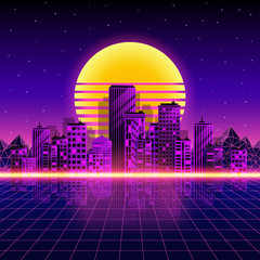 Poster Violet Retro neon city background. Neon style 80s. Vector illustration