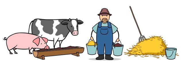Bauer auf Bauernhof füttert Tiere