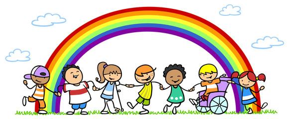 Kinder bei Inklusion und Integration unter Regenbogen