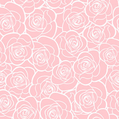 Vector seamless pattern with white roses contours on pink.